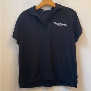 Port authority wood ranch solid black polo
